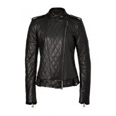 Women's Belt And Shoulder Epaulets Leather Jacket